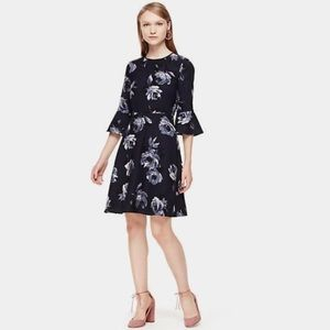 NEW Kate Spade Night Rose Crepe Bell Sleeve Dress